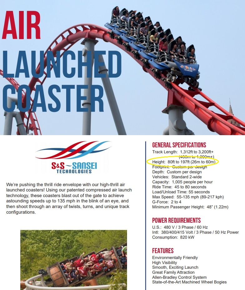 S&S Air Launched Coaster Specifications Sheet